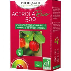 Acerola BIO 500 2 tubes de 12 comprimés - Phyto-Actif