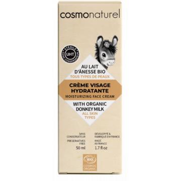 Crème visage hydratante au lait d'ânesse toutes peaux 50ml - Cosmo Naturel