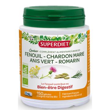 Quatuor Digestion Chardon Marie, Romarin Fenouil et Anis vert 150 gélules - Super Diet