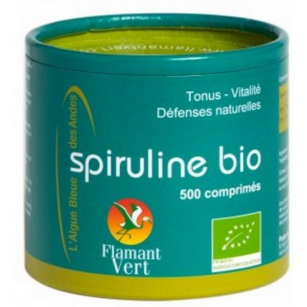 Spiruline flamant vert bio 500 comprim s certifi e ecocert - Spiruline flamant vert 1000 comprimes ...