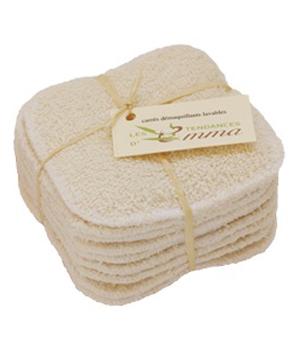 Lot de 10 carrés à démaquiller lavables Coton bio Biface