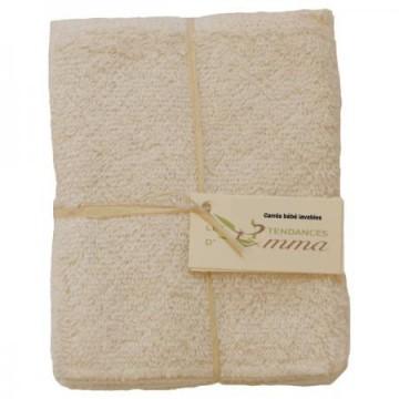 Lot de 5 carrés bébé Coton bio biface lavables