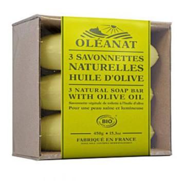 Barquette 3 savonnettes bio Olive - Oléanat