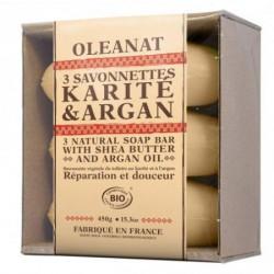 Barquette 3 savonnettes bio karité & Argan - OLéanat