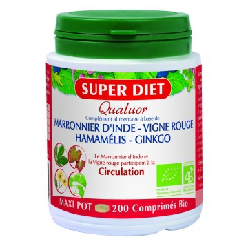 Quatuor Circulation Marronnier Vigne Rouge Hamamélis Ginkgo 200 comprimés - Super Diet