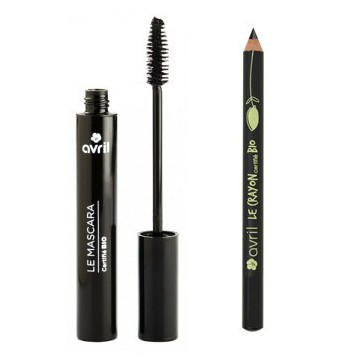Lot mascara + crayon contour des yeux Noir-Avril