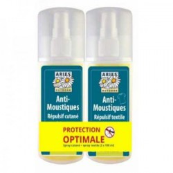 Lot Protection Spray Cutané et Textiles Anti Moustiques 2x100ml Aries