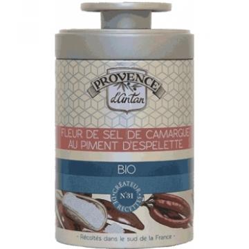 Fleur de Sel de Camargue au Piment d'Espelette Boîte métal 70 gr - Provence d'Antan