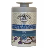 Fleur de Sel de Camargue Ail et Fines herbes bio Boîte 70 gr - Provence d'Antan - Aromatic Provence