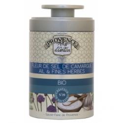 Fleur de Sel de Camargue Ail et Fines herbes bio Boîte- 70gr - Provence d'Antan