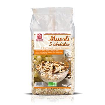 Muesli bio 5 céréales 500 grammes Celnat