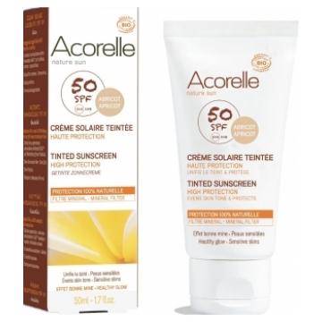 Crème Solaire teintée abricot SPF 50 50ml - Acorelle