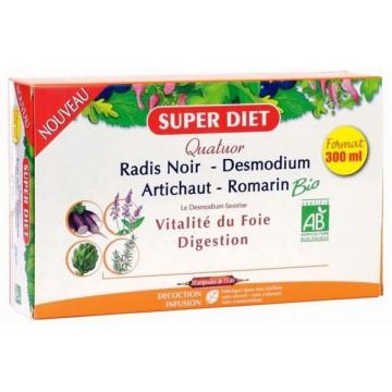 Quatuor Desmodium Radis Noir Romarin Artichaut 20 Ampoules - Super Diet