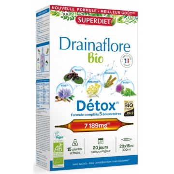 Drainaflore 20 ampoules de 15ml - Super Diet