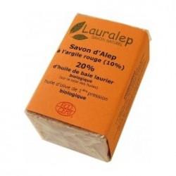 Savon d'Alep bio à l'Argile Rouge 150g 20% huile de laurier - Lauralep