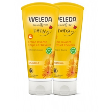 Duo crème lavante corps et cheveux au Calendula bébé 2 x 200ml - Weleda