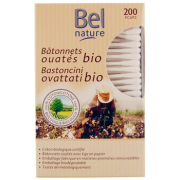 200 Bâtonnets d'oreille boîte distributrice coton bio - Bel Nature