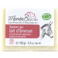 Savon 40% lait d'ânesse bio Beurre Karité et extrait de Calendula 100gr - Monde Bio savon sans parfum pour peaux sensibles