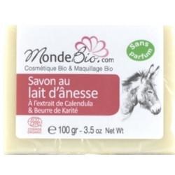 Savon 40% lait d'ânesse bio Beurre Karité et extrait de Calendula 100gr - Monde Bio