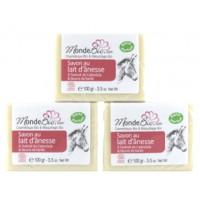 Trio de Savons 40% lait d'ânesse bio Beurre Karité et extrait de Calendula 3x100gr - Monde Bio savon sans parfum
