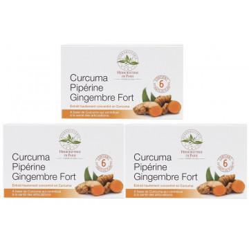 Curcuma pipérine gingembre fort 3 boîtes de 60 comprimés - 3 mois de cure Herboristerie de Paris
