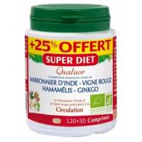 Quatuor Marronnier Vigne Rouge Hamamélis Ginkgo 120 comprimés + 25% offert - Super Diet
