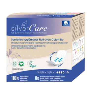 10 Serviettes nuit 100% coton bio Ultra minces avec ailettes - Silvercare
