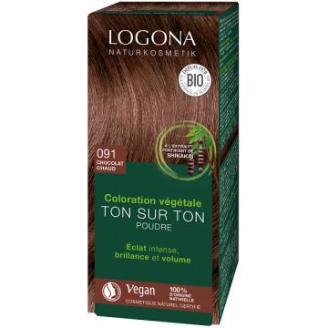 coloration végétale Ton sur Ton en poudre 091 Chocolat chaud 100 gr - Logona