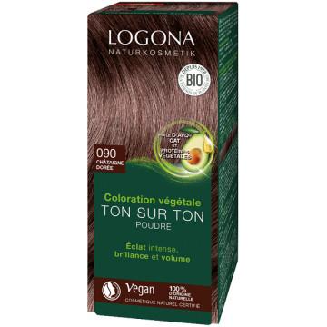 Soin colorant végétal poudre Châtaigne dorée 100 g -Logona