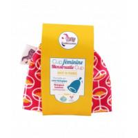 Cup féminine Taille 1 pochette en coton bio rose - Lamazuna - Hygiene bio - Aromatic Provence