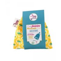 Cup féminine Taille 2 avec pochette en coton bio jaune - Lamazuna - Hygiène bio - Aromatic Provence