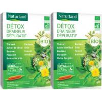 Detox Bio 9 plantes Lot de 2 boîtes 20 ampoules - Naturland, 123 detox, detox bio, draineur minceur,Naturland, aromatic provence