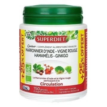 Quatuor Circulation Marronnier Vigne Rouge Hamamélis Ginkgo 120 gélules +25% OFFERT - Super Diet