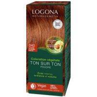 Coloration végétale Ton sur Ton 040 poudre Cuivre flamme froid 100gr - Logona Soin colorant végétal Aromatic Provence
