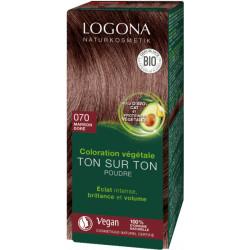 Coloration végétale Ton sur Ton en poudre 070 Marron doré 100g - Logona