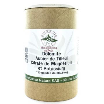 Dolomite Aubier de tilleul Citrates de magnésium et de potassium 120 Gélules - Herboristerie de Paris