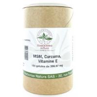M.S.M Curcuma Vitamine E 150 gélules - Herboristerie de Paris methyl sulfonyl methane curcumine Aromatic Provence