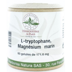 L Tryptophane Magnésium marin Vitamines E et B6 60 Gélules - Herboristerie de paris