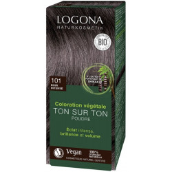 Coloration végétale Ton sur Ton Noir Intense 101 en poudre 100gr - Logona