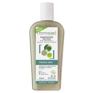 Shampooing bio cheveux gras et pellicules Argile Verte 400ml - Dermaclay