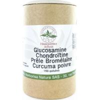 Glucosamine chondroïtine Prêle Bromélaïne Curcuma Poivre 150 Gélules - Herboristerie de Paris
