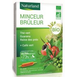 Minceur brûleur Thé Vert Café Vert guarana Reine des prés Bio 20 ampoules - Naturland