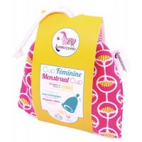 Cup féminine Taille 2 pochette en coton bio rose - Lamazuna - Hygiene bio - Aromatic Provence