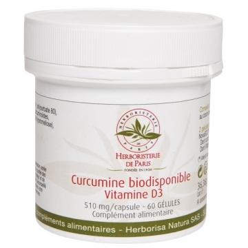 Curcumine biodisponible Vitamine D3 60 gélules - Herboristerie de Paris