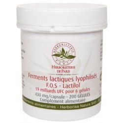 Ferments lactiques lyophilisés F.O.S Lactilol 200 Gélules Herboristerie de Paris