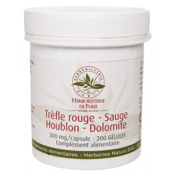 Trèfle rouge Sauge Houblon Dolomite 200 Gélules - Herboristerie de Paris