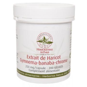Gluci silhouette Extrait de Haricot Gymnema Banaba Chrome 200 Gélules - Herboristerie de paris