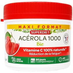 Acérola 1000 Vitamine C Bio maxi pot 60 comprimés - Super Diet
