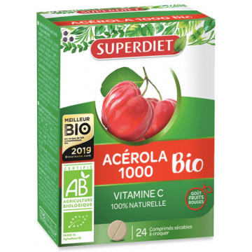 Acérola 1000 Vitamine C Bio 24 comprimés - Super Diet