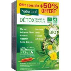 Détox Draineur Dépuratif Bio 9 plantes 20 ampoules de 10ml + 50 pour cent offert Naturland